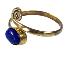 Brass toe ring, Goa foot jewellery, Indian toe ring - gold/lapis ..