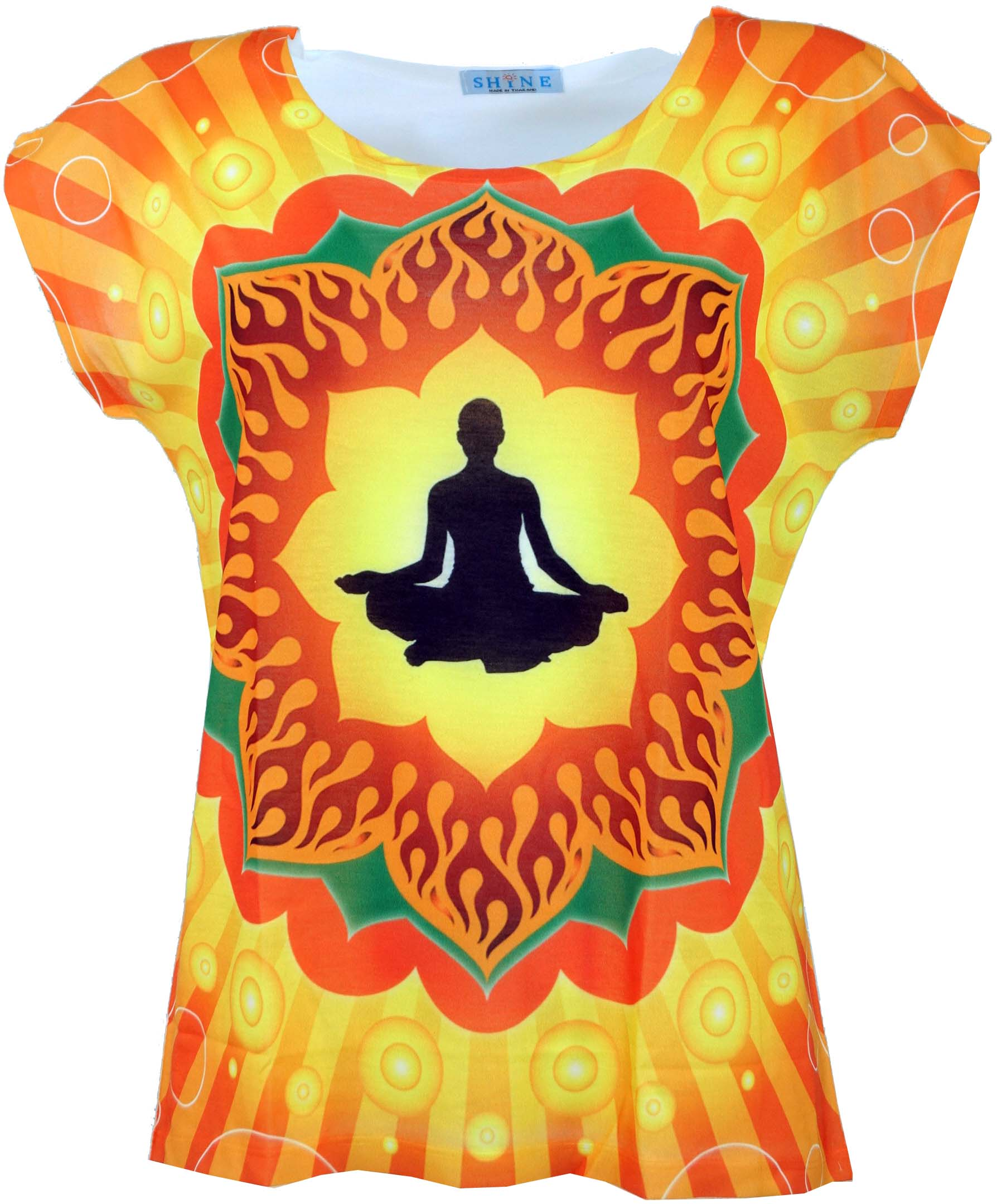 GURU-SHOP Yoga Top Mandala Petrol and Shirts//Tops