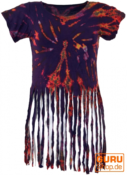 Beliebt Batik Hippie T-Shirt with fringes - purple WS08
