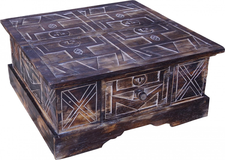 - Hand Carved Floor Table, Coffee Table, Balsa Wood Chest - 27x60x60 Cm